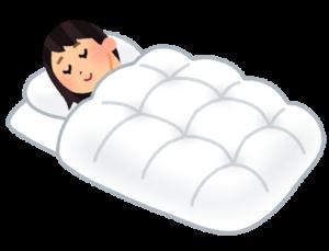 布団で寝る女性イラスト