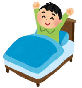ベッドで起きる人イラスト