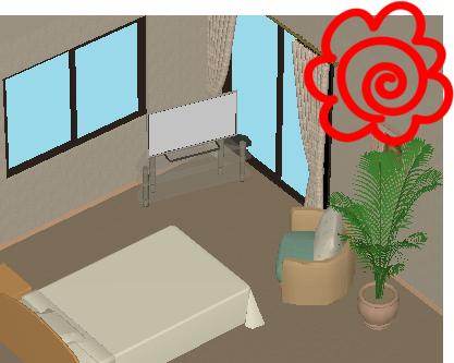 理想的なベッドの配置イラスト