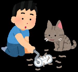 猫の毛をコロコロで掃除