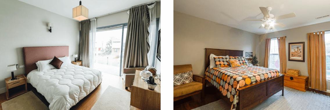 暖色と寒色でイメージの変わる寝室