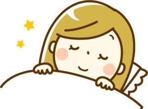 グッスリ寝る女性のイラスト