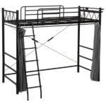 ロフトベッド/システムベッド ブラック(黒) シングルサイズ スチール カーテン/二口コンセント/階段/宮付き
