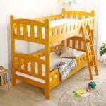2段ベッド/すのこ 耐震仕様 『Perroquet』 木製 上下分割構造 梯子付き 木目調