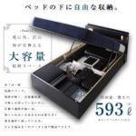 モダンライトコンセント付き・ガス圧式跳ね上げ収納ベッド Kezia ケザイア フレームカラー:ブラック
