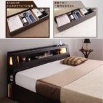 大型サイズ収納ベッド【Aisance】エザンス クイーンサイズ ライト付き