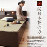 ダークブラウン 照明・棚付き畳収納ベッド【月下】Gekka