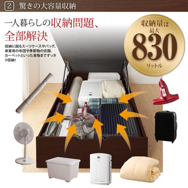 通気性抜群 棚コンセント付 跳ね上げベッド Prostor プロストル