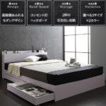 引き出し付き収納ベッド ンセント付き ホワイト/ブラック