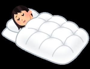 羽毛布団で寝ている人イラスト