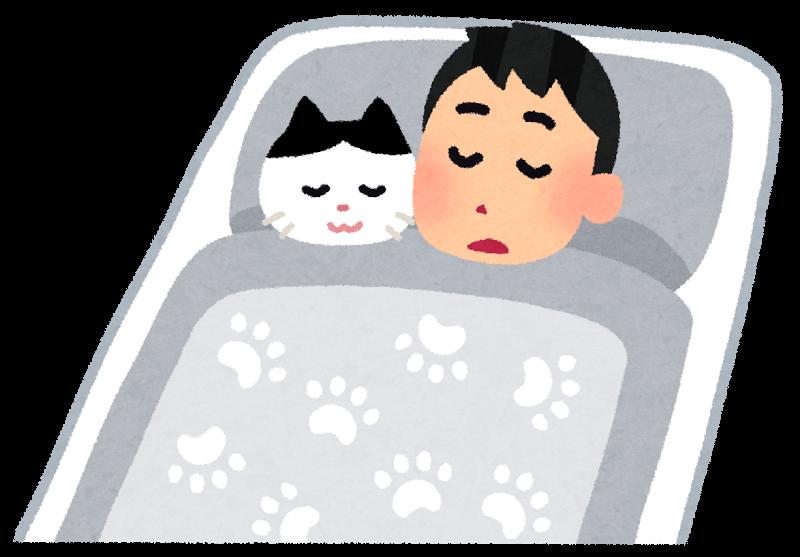 布団で寝る様子イラスト