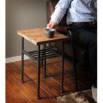 サイドテーブル(ミニテーブル/コーヒーテーブル) JOKER 幅30cm 木製/杉古材×スチール 収納棚付き 木目調