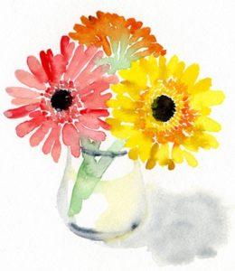 ガーベラの入った花瓶