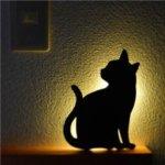 【2個セット】 猫 WALL LIGHT/LED照明 【3 ちら見】 音感センサー内蔵 自動消灯