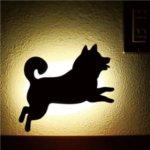 【2個セット】柴犬 WALL LIGTH/LED照明 【1 ジャンプ】 音感センサー内蔵 自動消灯