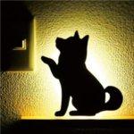 【2個セット】 柴犬 WALL LIGTH/LED照明 【2 お手】 音感センサー内蔵 自動消灯