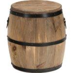 樽型スツール/収納付きオットマン 【高さ30cm】 ブラウン 木製